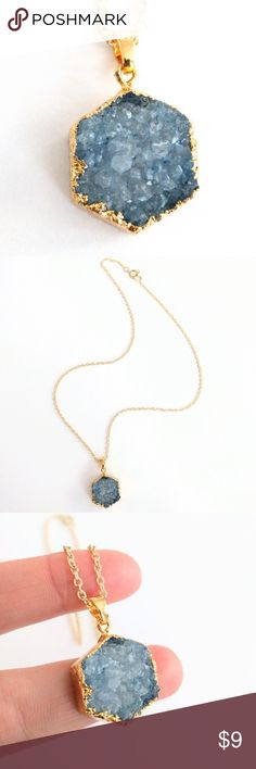 "Genuine druzy hexagon pendant necklace Natural beauty meets a chic and modern design in this gold-plated stunner!  Genuine agate druzy crystals sparkle...An absolute must-see in person!  Nickel and lead free.  Chain measures about 18"" long.  PRICE IS FIRM and extremely reasonable, but click ""add to bundle"" to save 10% on your purchase of 2+ items! Jewelry Necklaces"