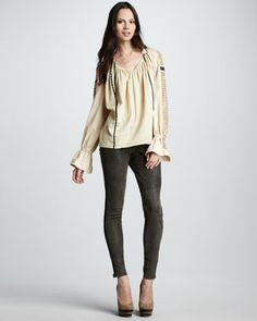 Washed-Leather Skinny Pants by Skaist Taylor at Neiman Marcus.