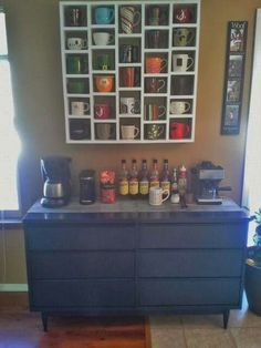 DIY COFFEE BAR... and I love the coffee mug storage.  ------>> http://schaafhouse.blogspot.com/2013/12/the-coffee-bar.html