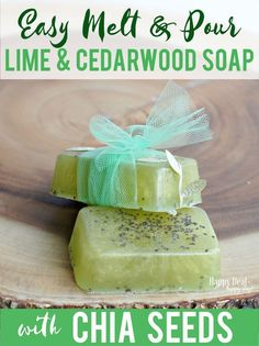Easy Melt & Pour Soap Recipes: Lime and Cedarwood Soap with Chia Seeds. This has a Free Printable Soap Labels that you can wrap around your bars before giving as a gift! These are WAY easier to make than you think and make wonderful gifts! Homemade Soap Recipes, Homemade Gifts, Diy Gifts, Gift Crafts, Homemade Products, Bath Products, Unique Gifts, Cedarwood Essential Oil, Essential Oils