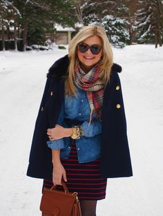 Chambray layering over dress