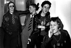 Eater, in their managers flat, Islington, December 1976  They were so young. Still at school. I think the drummer was 14 or something. His punk name was Dee Generate and hes now a social worker. The singer was Andy Blade and his mum made his T-shirt.