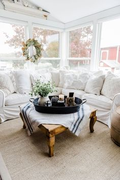 524d4ee9ea6f A Farmhouse Style Coffee Table In The Sunroom