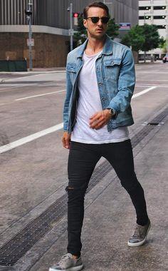 デニムジャケット,メンズ,着こなしコーデ,Tシャツ,スキニージーンズ,スニーカー