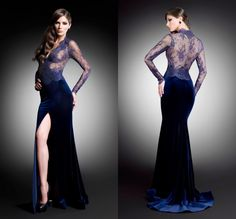 Find More Evening Dresses Information about Royal Blue Mermaid Evening Dress High Side Slit V Neck Sexy Long Sleeve Evening Gown See Through Back Lace  Evening Dress,High Quality dresses celebrities,China dresses gowns uk Suppliers, Cheap gown dress from Amanda's Dress House on Aliexpress.com