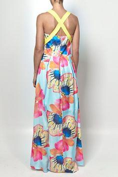 Vestido Estampa Flor com Alça Crepe - Simulassao