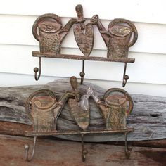 Vintage Cast Iron  Cast Iron Hooks  Ornamental Iron by WhimzyThyme, $84.00