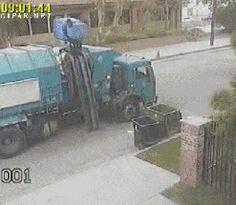 trah truck fliging trash. LOL