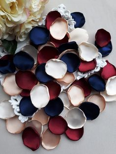 Burgundy Ivory Rose Petals Champagne Navy Blue Handmade Petals Wedding Decoration Party Decoration A Maroon Wedding, Lilac Wedding, Wedding Colors, Wedding Bouquets, Wedding Flowers, Blue Bridal, Fall Wedding, Navy And Burgundy Wedding, Dream Wedding
