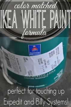 The perfect color matched formula for IKEA white paint! Perfect for tou… Finally! The perfect color matched formula for IKEA white paint! Perfect for touching up those Billy bookcases and Expedit systems! Paint Cabinets White, Painting Cabinets, Tv Cabinets, Expedit Hack, Kallax, Billy Ikea, Paint Matching, Ikea Furniture, Kitchen Furniture