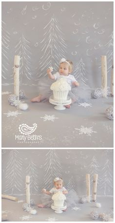 1st Birthday and Cake Smash Portraits with a winter wonderland theme for Mary…
