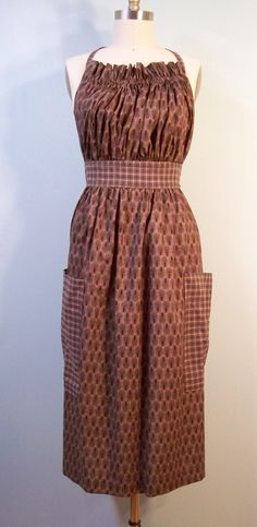 Long traditional Kitchen Apron in Classic Country Browns $29.00