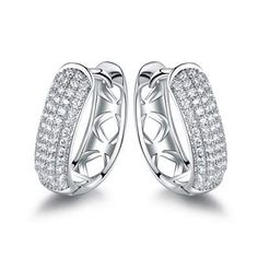 Classy hoops get a sparkling update in these outstanding hoop earrings decorated with cubic zirconia. Round-cut cubic zirconia Clip-back closure. Fashion Necklace, Fashion Jewelry, Diamond Earrings, Hoop Earrings, Types Of Metal, Studs, Plating, Gemstone Rings, White Gold