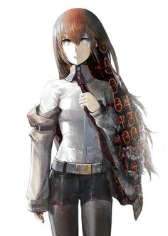 Anime picture 				1349x1894 with  		steins;gate 		makise kurisu 		huke 		long hair 		single 		tall image 		blue eyes 		looking at viewer 		brown hair 		simple background 		white 		open jacket 		girl 		shirt 		necktie 		shorts 		jacket