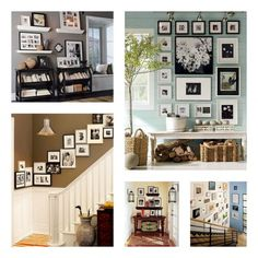 always wanted a photo wall, several ideas on how to pull one off.