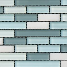 Capturing the colors of the ocean with beautiful frosted seaglass-inspired shades of blue, green & white. Mediterranean 117 - Kids Bath Creations #tile #bathroom #TileOfTheDay