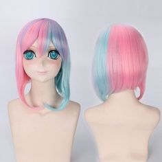 Short Side Bang Rainbow Straight Cosplay Lolita Synthetic Wig