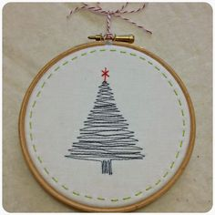 Jumping Through Hoops (Canadian Abroad) Embroidery Hoop Crafts, Christmas Embroidery Patterns, Hand Embroidery Stitches, Hand Embroidery Designs, Cross Stitch Embroidery, Vintage Embroidery, Xmas Cross Stitch, Christmas Drawing, Diy Christmas Ornaments