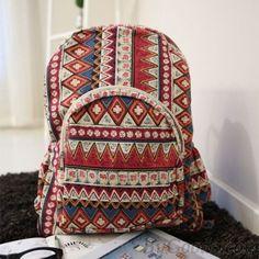 Folk Geometric Floral Print School Backpack|Fashion Backpacks - Fashion Bags|ByGoods.com