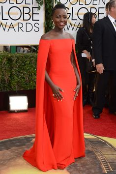 Lupita Nyong'o wore a Ralph Lauren spring/summer 2014 gown with Fred Leighton jewellery. Golden Globes 2014 Dresses – Red Carpet Dresses and Outfits (Vogue.com UK)