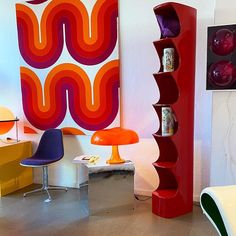 Love this nook in our shop Teen Apartment, Paint Patterns, Orange Interior, Mid Century Modern Art, Room Stuff, Retro Aesthetic, Retro Home, Retro Futurism, Cool Rooms