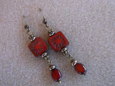 Red Picasso glass dangle earrings handmade