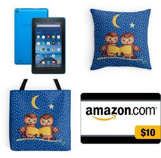 With Love for Books: Kindle Fire, Amazon Gift Card & Owls Pillow & Tote Bag Giveaway