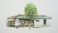 (Korea) A disappearing small store in a rural by Lee Me Kyeoung ). ink on paper with a pen use the acrylic. Ink Pen Art, Lee And Me, List Of Artists, Artist List, Sketches Of Love, Art Courses, Korean Artist, City Art, Installation Art