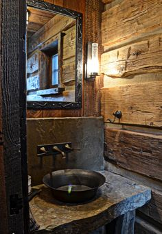 Rustic bath, love the sink