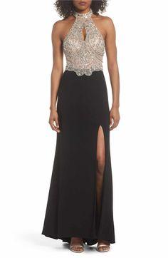 50047b3fd0b Blondie Nites Embellished Bodice Halter Knit Gown