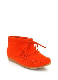 hunter orange fringe moccasin booties... go  jane ... forest frolicking perfection?