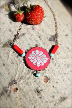 Chic ethnic hand embroidered necklace Red and by byKALYNKA