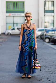 Browse the Best Street Style Outfits from Milan Fashion Week Spring 2017 at @StyleCaster | abstract-printed dress