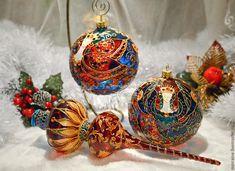 """Купить Стеклянный елочный шар с витражной росписью """"Ночь"""" - стеклянный шар, елочный шар"""