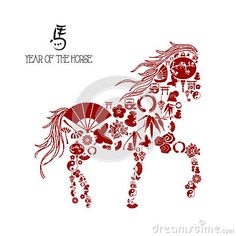 Chinese new year of the Horse: icons composition. by Cienpies Design / Illustrations, via Dreamstime