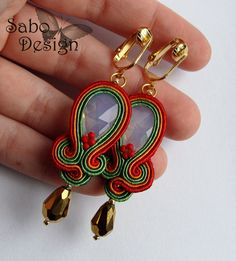 Gift for her under 60 - Swarovski soutache earrings / ear clips hand embroidered by SaboDesign, $53.90