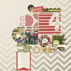 Hello Christmas Collection + Iffy's Calendar Countdown Templates from Peppermint Creative | page by @iffybean #digiscrap