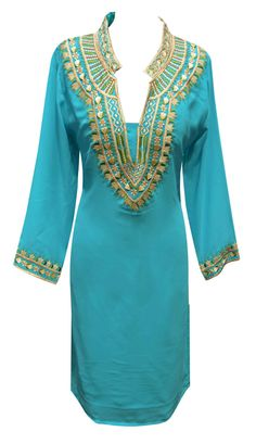 women's Indian smart Light Turquoise tunic Top in Thermal Long Sleeve, Long Sleeve Tops, Coloured Leggings, Bollywood Party, Plain Tops, Mob Dresses, Black Fabric, Kaftan, Indian Fashion