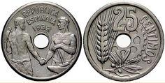 Monedas antiguas de España- 25 céntimos de la II República 1932