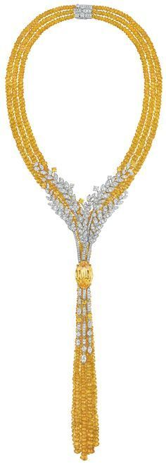 Moisson d'or Necklace from LesBlesDeChanel - Chanel - FineJewelry collection in 18K white & yellow gold set with a 16.8 carat OvalCut - YellowSapphire, 27 MarquiseCut - Diamonds (3 cts), 329 BrilliantCut - Diamonds (6.7 cts), 11 brilliant cut yellow Sapphires (1.9 ct) and 977 yellow sapphire beads (477.5 cts) - July 2016.