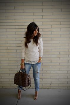 Casual, yet put together. I don't buy jeans that are ripped. But I otherwise like this casual look.