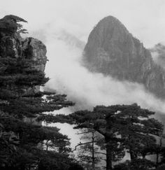 Huangshan, China, in black and white.