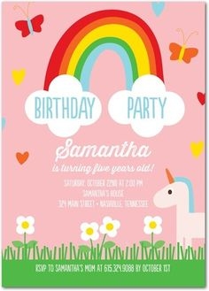 Meadow Rainbow - Birthday Party Invitations - Ann Kelle - Tomato - Red : Front