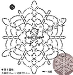 Crochet Snowflake Pattern, Crochet Mandala Pattern, Crochet Lace Edging, Crochet Motifs, Granny Square Crochet Pattern, Crochet Diagram, Crochet Stitches Patterns, Crochet Chart, Crochet Flowers