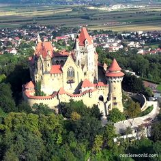 Burg Kreuzenstein, Leobendorf, Austria This castle is interesting in that it was constructed out of sections of medieval structures purchased by the Wilczek family from all over Europe to form an authentic-looking castle