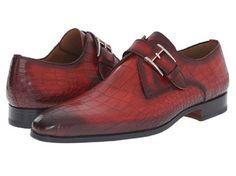 Magnanni Men's Red Croc Print Leather Monkstrap Shoes