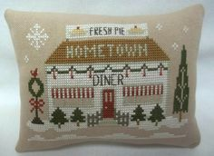 Christmas Diner Mini Pillow Cross Stitched Shelf Sitter - pinned by pin4etsy.com