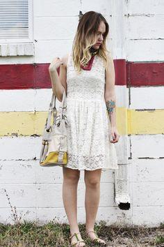 Emma, A Beautiful Mess - lace dress & cute shoes