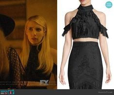 edafa2bb7e7 Madison s black lace cold-shoulder crop top on American Horror Story  Apocalypse. Outfit Details