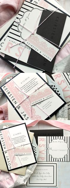 Modern Lace Wedding Invitations, Pink, White, Ivory, Black Stripes, BeaconLane